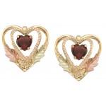 Genuine Garnet Heart Earrings by Coleman