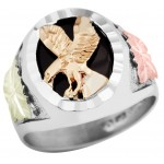Eagle on Black Onyx Men's Ring - by Landstrom's