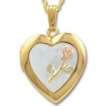 Rose on Mother of Pearl Locket - by Landstrom's