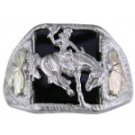 Bucking Bronco w/ Black Onyx Men's Ring - by Mt Rushmore