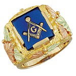 Masonic Ring with Multiple Stone Options - Gold by Landstrom's